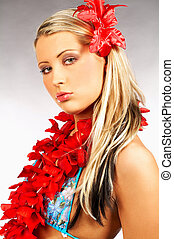 Hawaii Girl - Sexy blonde girl with red hawaii flowers