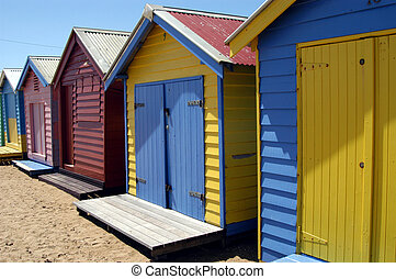 Beach houses - Colorful Beachhouses on Brighton Beach in...