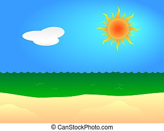 Sunny beach - Illustration of a sunny sandy beach