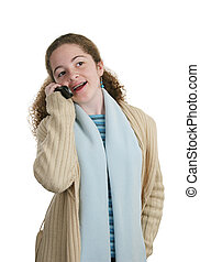 Teen Phone - Chat - A cute teen girl chatting on her cell...