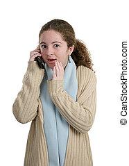 adolescente, telefono,  -, pettegolezzo