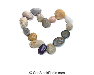Rocks heart isolated over white background