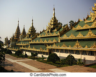 Shwedagon Pagoda - Part of the Shwedagon pagoda structure in...