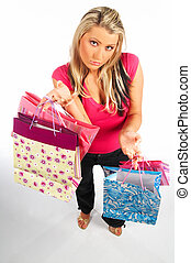 Shopping Girl - Blonde sexy girl with hands full of bags