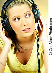 Sexy Girl with headphones close up