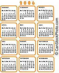 calendar - pop calendar vector in orange. Year 2006.