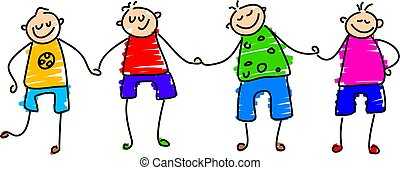 happy boys - group of boys holding hands - toddler art style