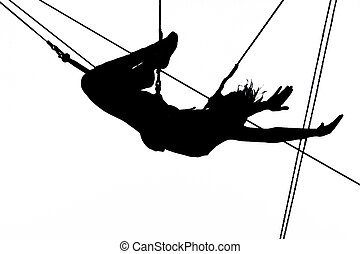 On trapeze - Women on trapeze.