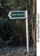 Adam and Eve - Sign for Adam Eve