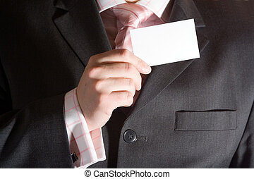 Businessman holding a card - Business card being held by man...