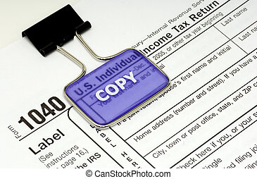 Tax Return - Photo of a 1040 Tax Form