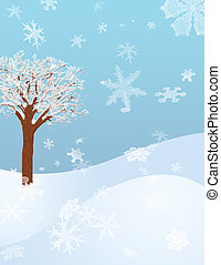 Winter Hillside - A Winter Hillside with a Snow Covered Tree