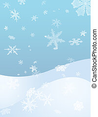 Snow Flurry - Snow Flakes fall with a snow covered hill in...