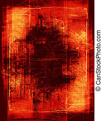 red grunge border - heavily layered frame