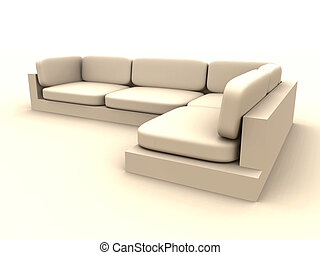 Sofa - natural Beige - 3D rendered Sofa