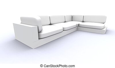 White Sofa - Wide An - Semi-isolated including Shadows Sofa...