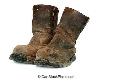 sucio, viejo, constructores, botas
