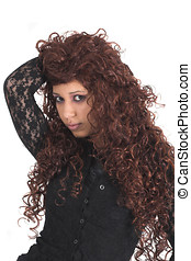 Wig fun - Teenage girl with long redhaired wig