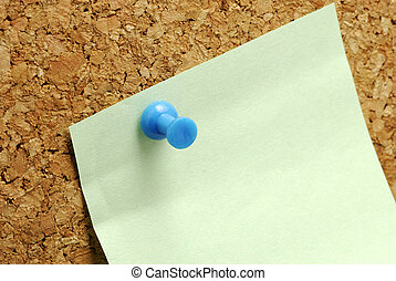 Postit - Blank Postit Note Tacked To a Corkboard
