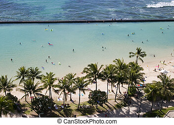 Waikiki Beach as viewed from our hotel room lanai.