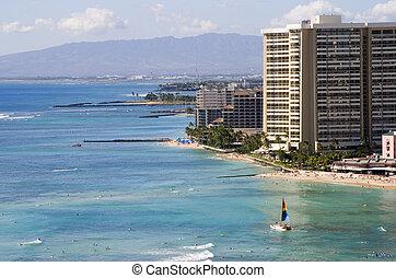 Waikiki Beaches - A view of the Waikiki coastline.