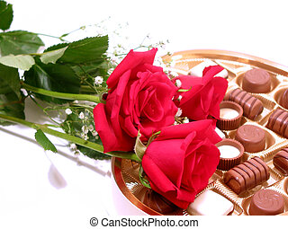 Rose chocolate valentine - Red roses with heart shaped box...