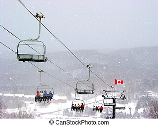 Ski Canada - Chairlift at Horseshoe ski resort during heavy...