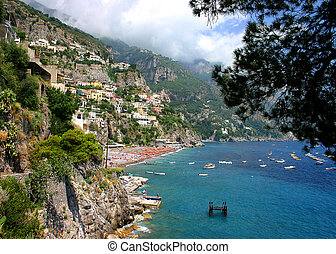 Beach from above - The beautiful town and beach of Positano,...