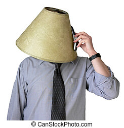 Busy Signal. - Businessman with a lampshade on his head,...