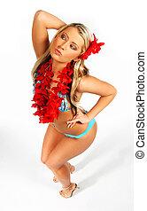 Hawaii Girl - Sexy blonde girl in bikini with red hawaii...