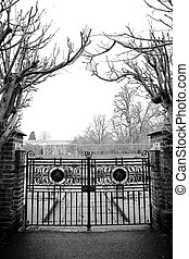 London#5 - Gate and trees.  Black and white.
