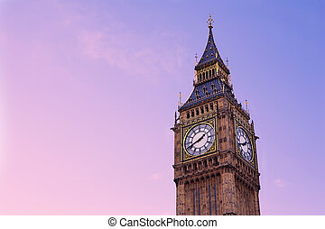 London#17 - Tower and clock in London.  Copy space.