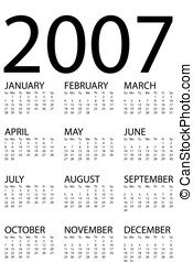 2007 calendar. calendar suitable for all purpose: agenda...