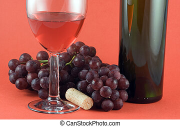 Red Wine - Glass of red wine, grapes and bottle