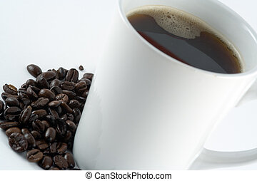 Mug of Coffee - Morning Americano surrounded by Beans