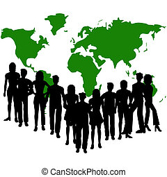 Group of people - Silhouettes of people and a map of the...