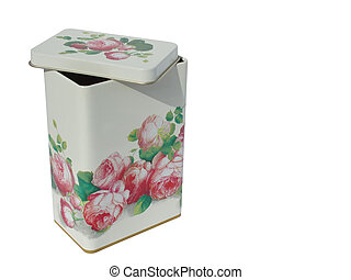 Canister with roses  – isolated