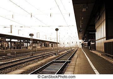 Neurenburg #69 - Trainstation in Neurenburg, Germany. Sepia...