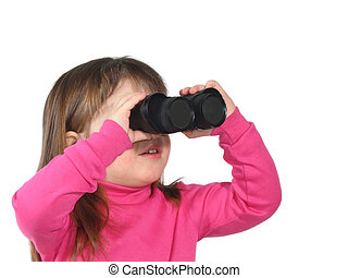 Looking Ahead - Little girl looking through binoculars