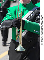 marching band 1 - St Patricks day parade with marching band,...