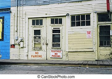 No Parking - Side of a building in Portland, Maine...