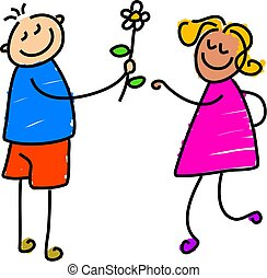 young love - little boy giving a flower to little girl