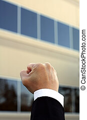 Happy businessman - Fist of a businessman, showing happiness...