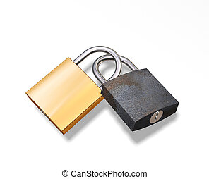Security - 3D render of an old and new padlock intertwined