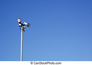 Lamppost in blue sky background - Lamppost with blue sky...