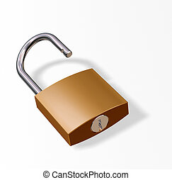 Padlock - 3D render of padlock isolated on white background