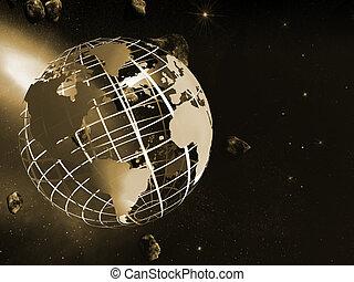 世界, 地図, 格子