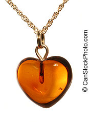 amber heart pendant on silver chain - lovely valentine day...
