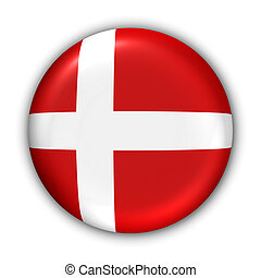 Denmark Flag - World Flag Button Series - Europe -...