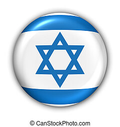 Israel Flag - World Flag Button Series - AsiaMiddle East -...